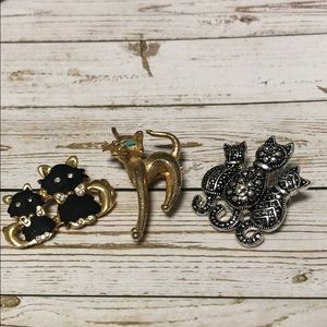 Set of 3 kitty brooches